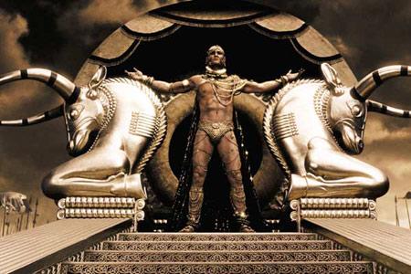 نمایی از تمثال پادشاه ایرانی در فیلم 300